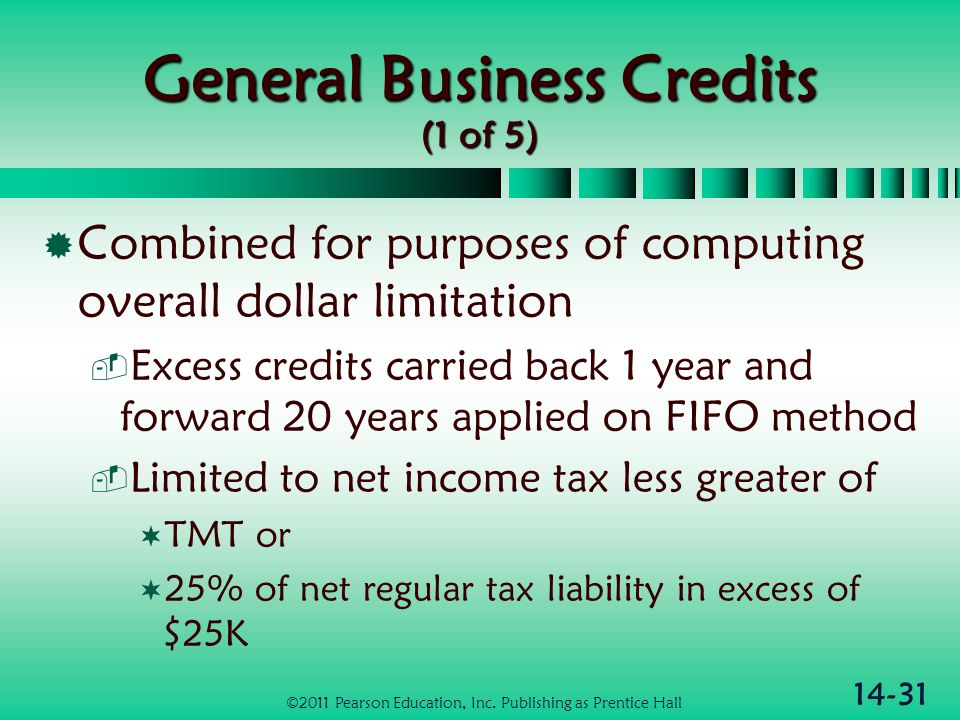 14-31 General Business Credits (1 of 5)  Combined for purposes of computing overall dollar limitation  Excess credits carried back 1 year and forwar