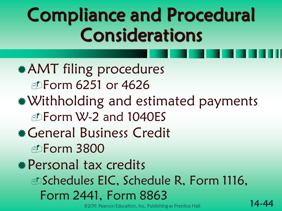 14-44 Compliance and Procedural Considerations  AMT filing procedures  Form 6251 or 4626  Withholding and estimated payments  Form W-2 and 1040ES