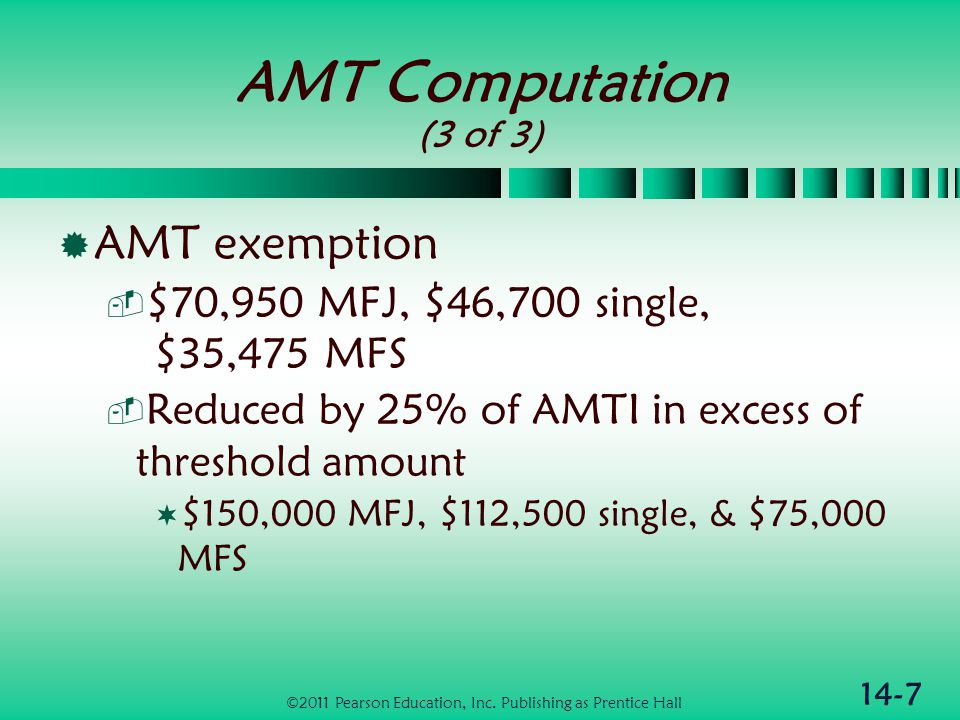 14-7 AMT Computation (3 of 3)  AMT exemption  $70,950 MFJ, $46,700 single, $35,475 MFS  Reduced by 25% of AMTI in excess of threshold amount  $150