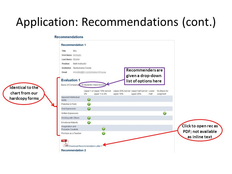 Application: Recommendations (cont.) Identical to the chart from our hardcopy forms Click to open rec as PDF; not available as inline text Recommenders are given a drop-down list of options here