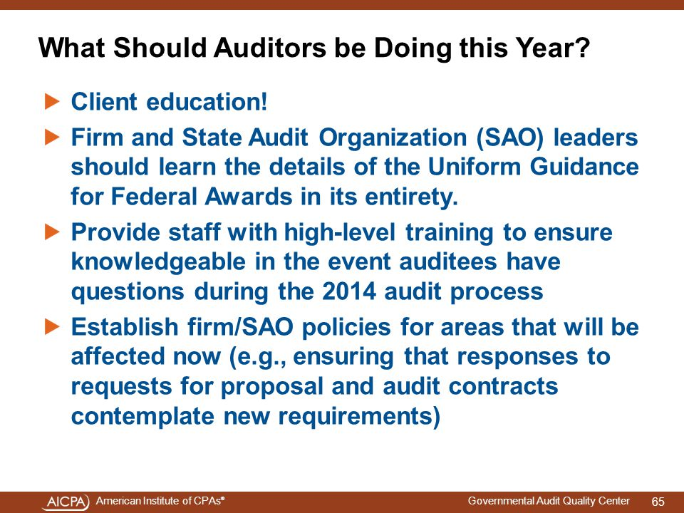 American Institute of CPAs ® Governmental Audit Quality Center What Should Auditors be Doing this Year.