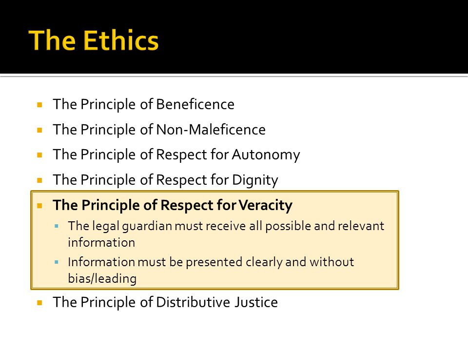  The Principle of Beneficence  The Principle of Non-Maleficence  The Principle of Respect for Autonomy  The Principle of Respect for Dignity  The