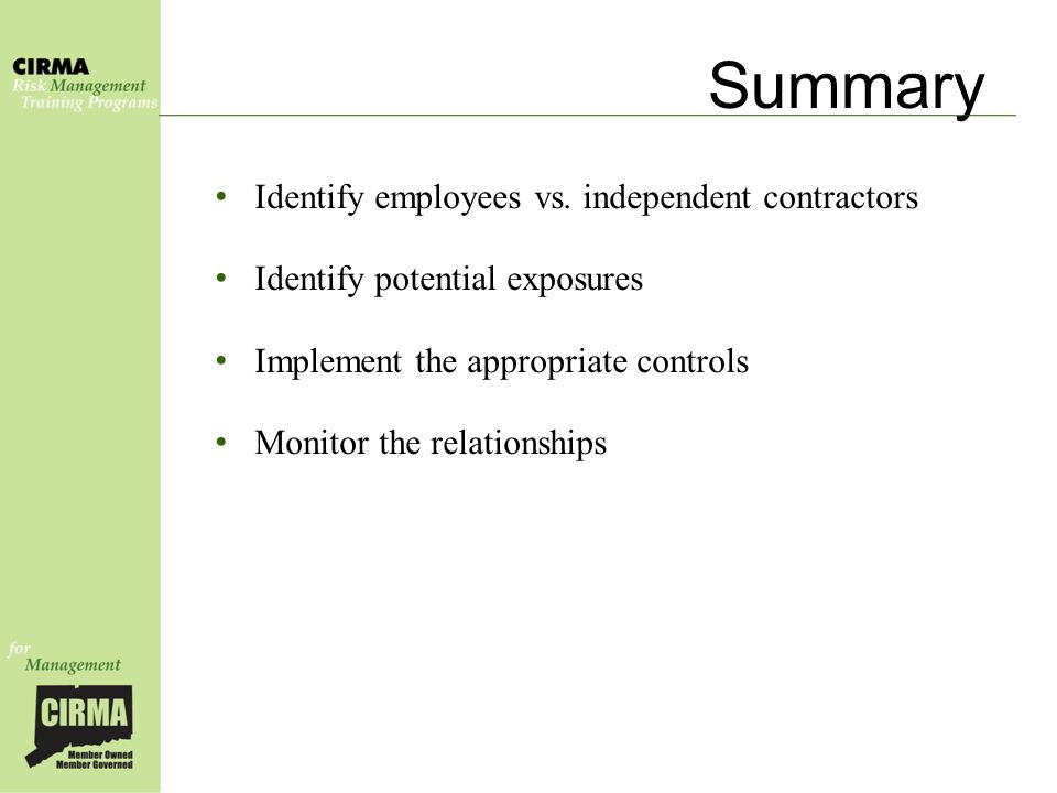 Summary Identify employees vs.