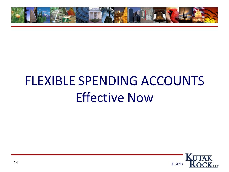 14 © 2013 FLEXIBLE SPENDING ACCOUNTS Effective Now