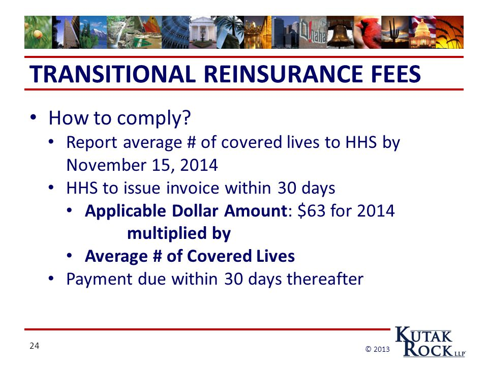 24 © 2013 TRANSITIONAL REINSURANCE FEES How to comply.