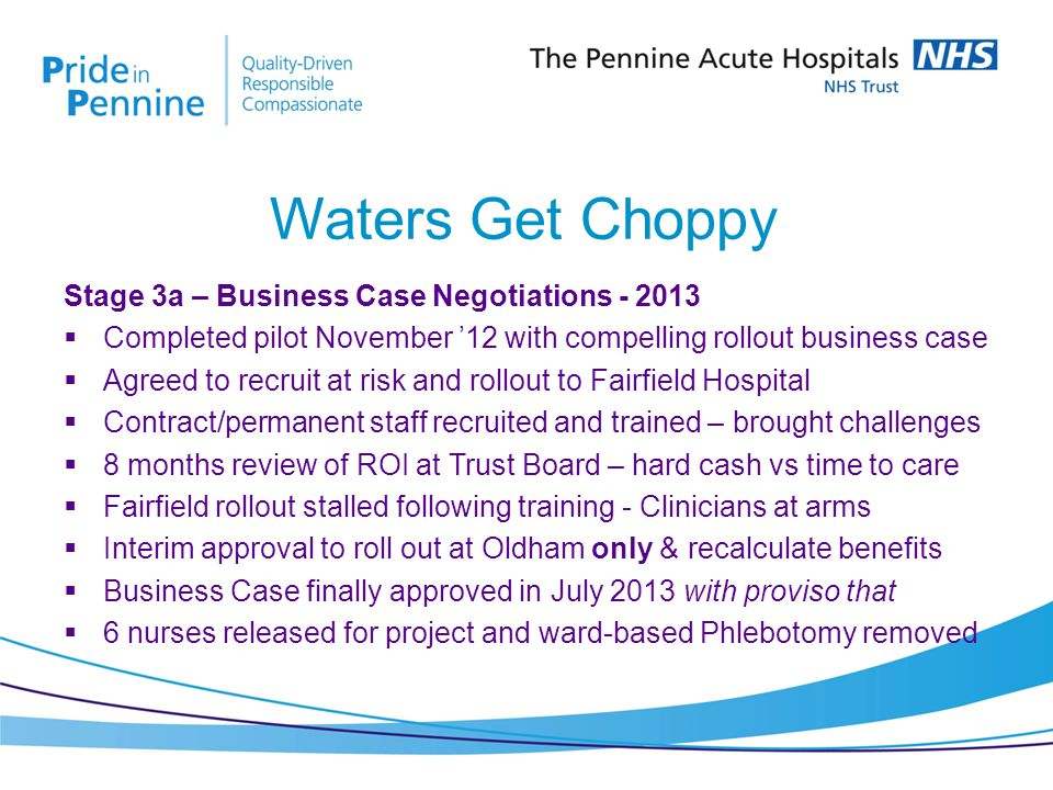 Stage 3a – Business Case Negotiations - 2013  Completed pilot November '12 with compelling rollout business case  Agreed to recruit at risk and rollout to Fairfield Hospital  Contract/permanent staff recruited and trained – brought challenges  8 months review of ROI at Trust Board – hard cash vs time to care  Fairfield rollout stalled following training - Clinicians at arms  Interim approval to roll out at Oldham only & recalculate benefits  Business Case finally approved in July 2013 with proviso that  6 nurses released for project and ward-based Phlebotomy removed Waters Get Choppy