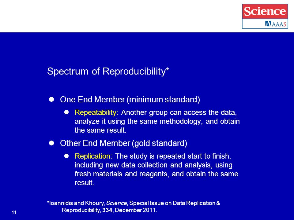 Spectrum of Reproducibility* One End Member (minimum standard) Repeatability: Another group can access the data, analyze it using the same methodology, and obtain the same result.