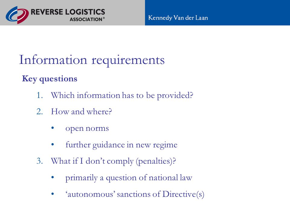 A new regime for e-commerce in Europe Information requirements Key questions 1.Which information has to be provided.