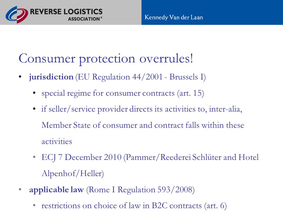 A new regime for e-commerce in Europe Consumer protection overrules.