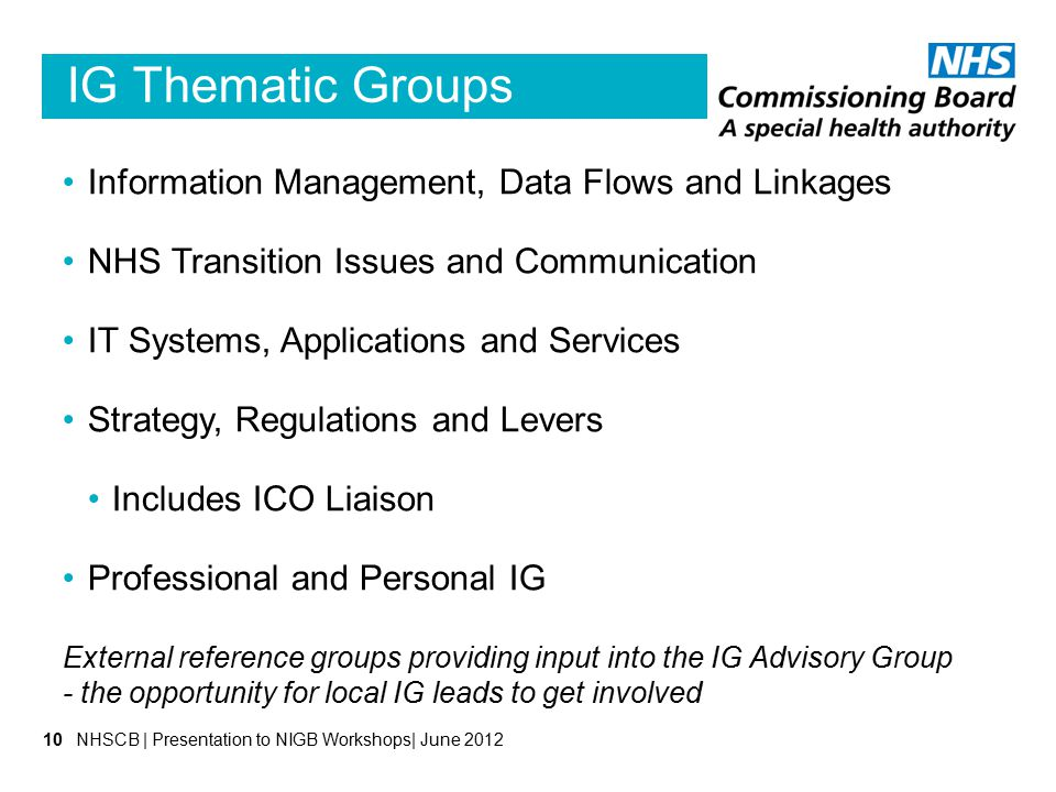 IG Thematic Groups Information Management, Data Flows and Linkages NHS Transition Issues and Communication IT Systems, Applications and Services Strat