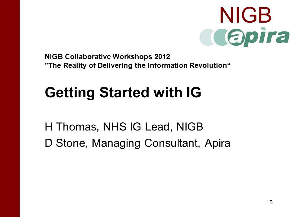 NIGB  NIGB Collaborative Workshops 2012