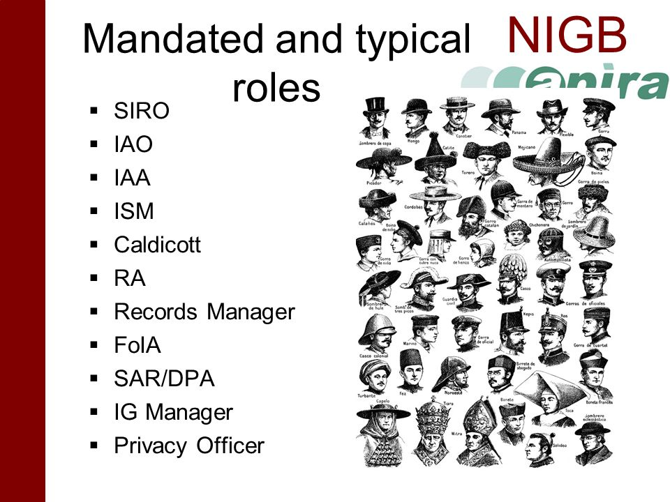 NIGB Mandated and typical roles  SIRO  IAO  IAA  ISM  Caldicott  RA  Records Manager  FoIA  SAR/DPA  IG Manager  Privacy Officer