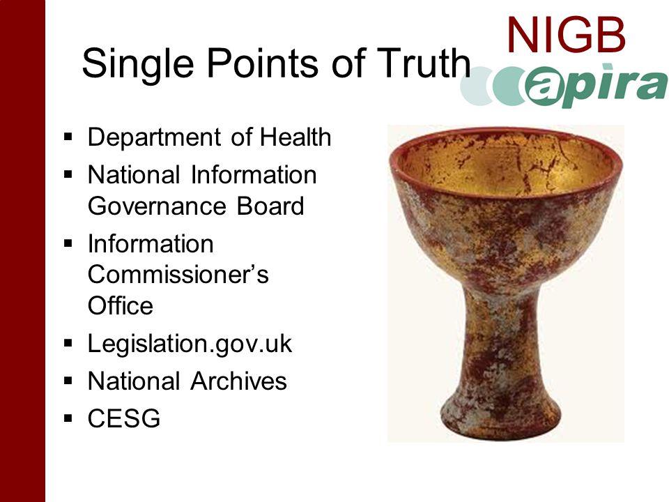 NIGB Single Points of Truth  Department of Health  National Information Governance Board  Information Commissioner's Office  Legislation.gov.uk 