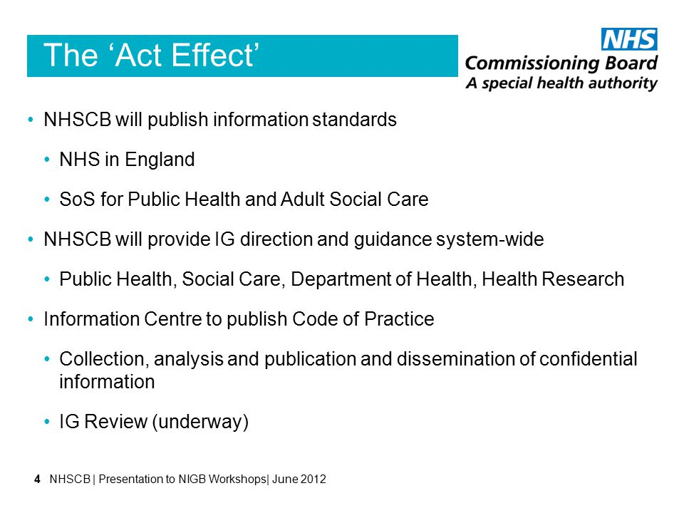 The 'Act Effect' NHSCB will publish information standards NHS in England SoS for Public Health and Adult Social Care NHSCB will provide IG direction a