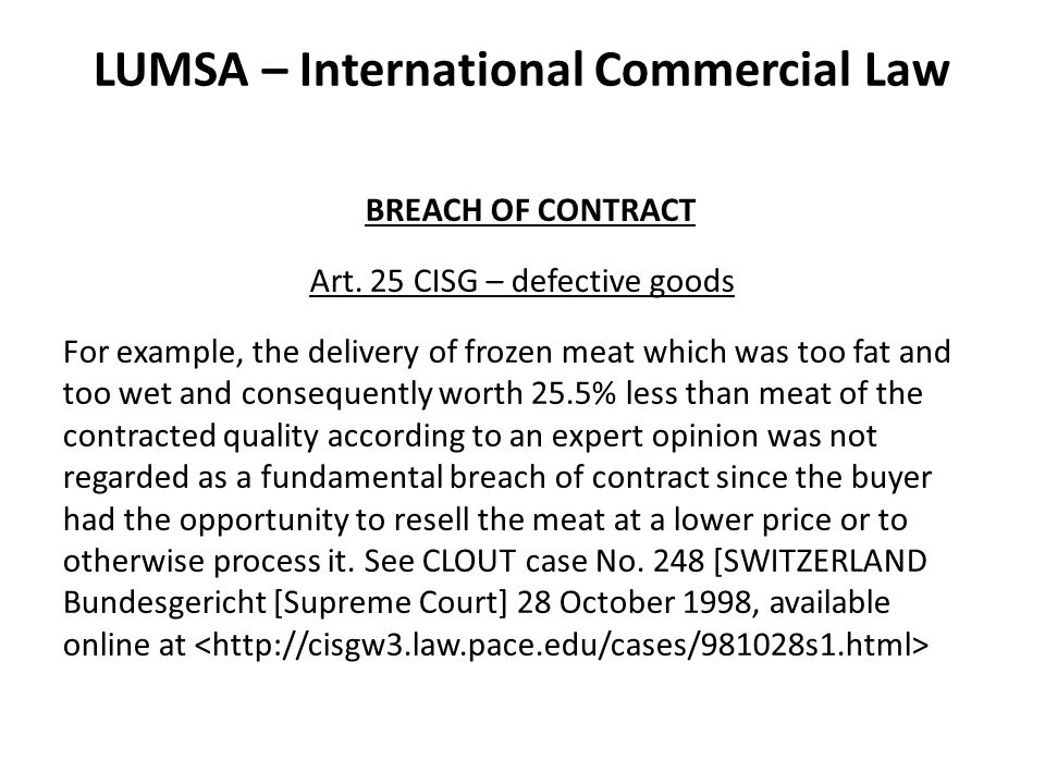LUMSA – International Commercial Law BREACH OF CONTRACT Art.