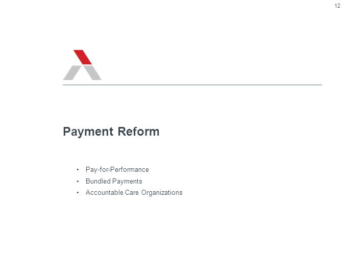 Pay-for-Performance Bundled Payments Accountable Care Organizations Payment Reform 12