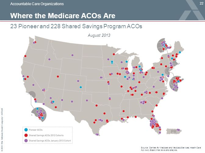 © 2013 The Advisory Board Company 26534B Where the Medicare ACOs Are 22 23 Pioneer and 228 Shared Savings Program ACOs Source: Centers for Medicare an