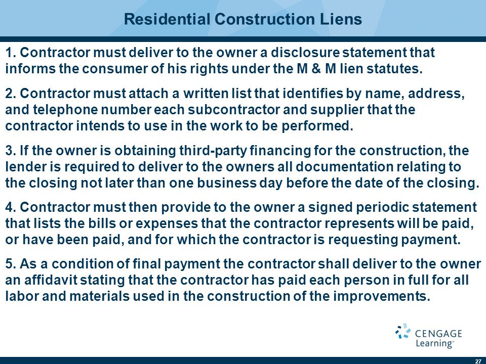 27 Residential Construction Liens 1.