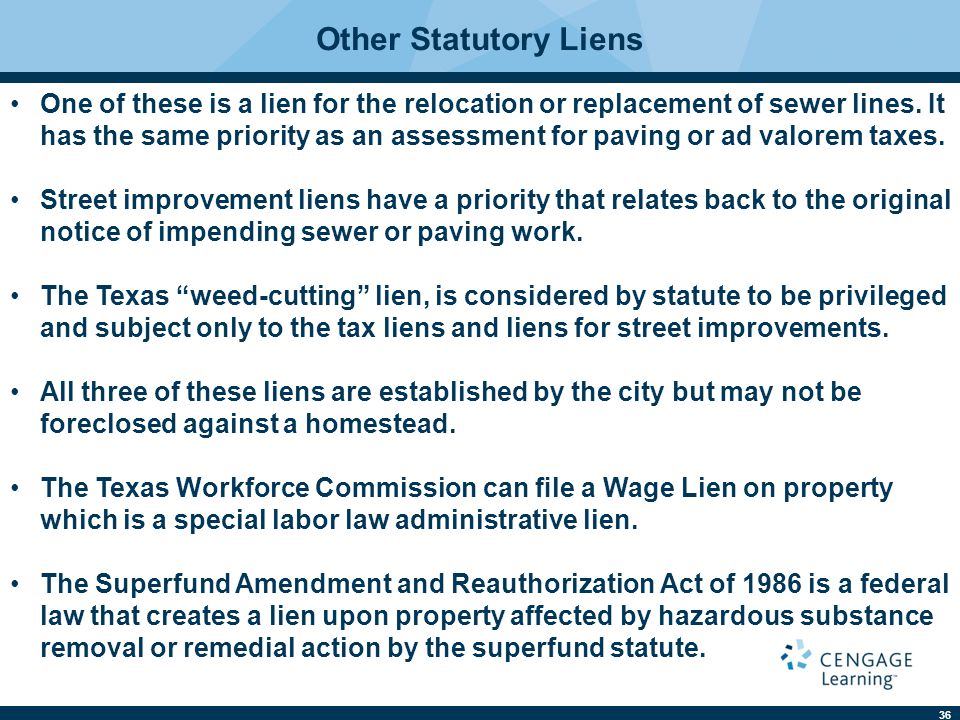 36 Other Statutory Liens One of these is a lien for the relocation or replacement of sewer lines. It has the same priority as an assessment for paving