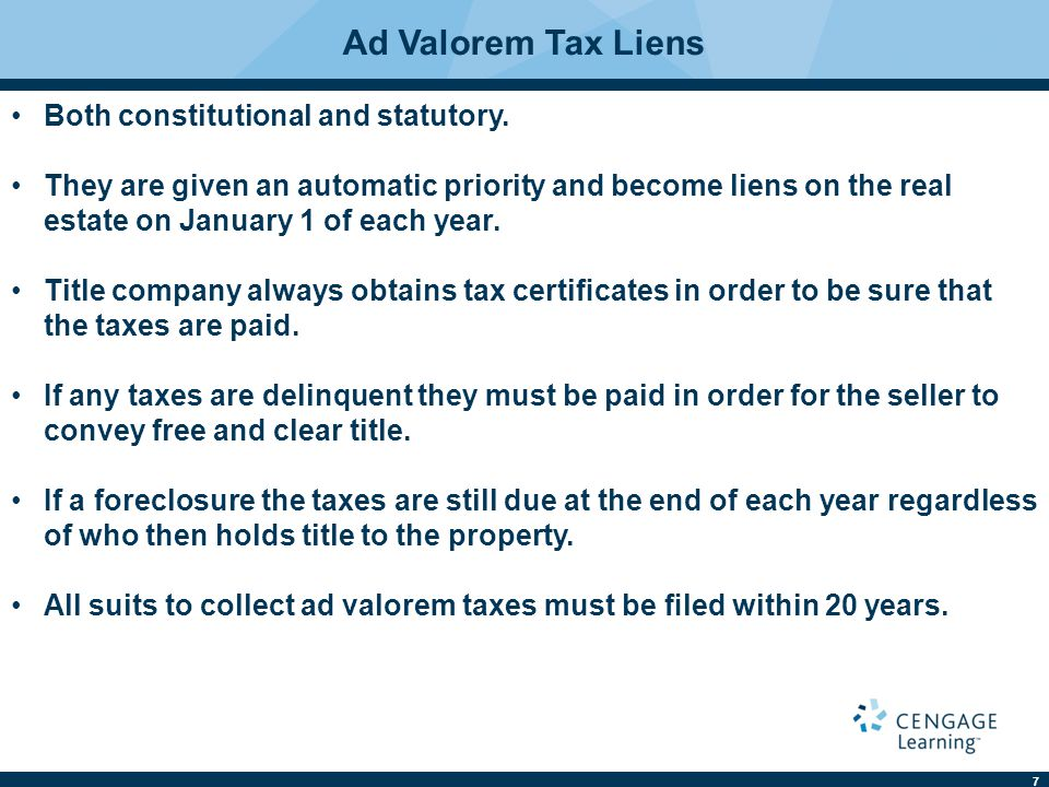 7 Ad Valorem Tax Liens Both constitutional and statutory.
