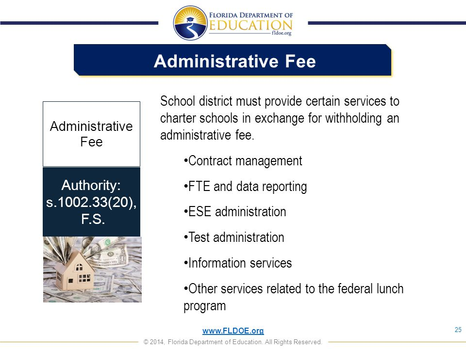 www.FLDOE.org © 2014, Florida Department of Education. All Rights Reserved. Administrative Fee 25 Authority: s.1002.33(20), F.S. Administrative Fee Sc