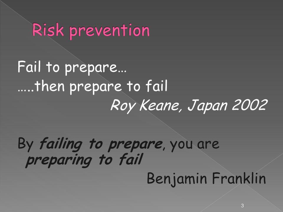 Fail to prepare… …..then prepare to fail Roy Keane, Japan 2002 By failing to prepare, you are preparing to fail Benjamin Franklin 3
