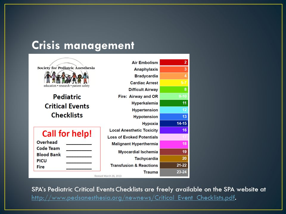 Crisis management SPA's Pediatric Critical Events Checklists are freely available on the SPA website at http://www.pedsanesthesia.org/newnews/Critical