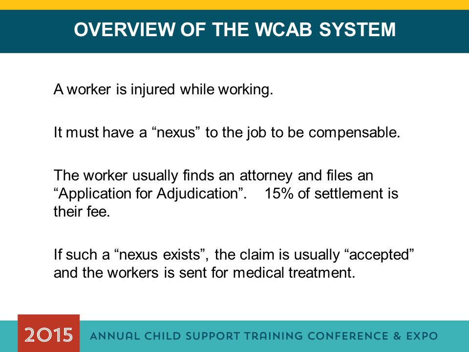 OVERVIEW OF THE WCAB SYSTEM A worker is injured while working.