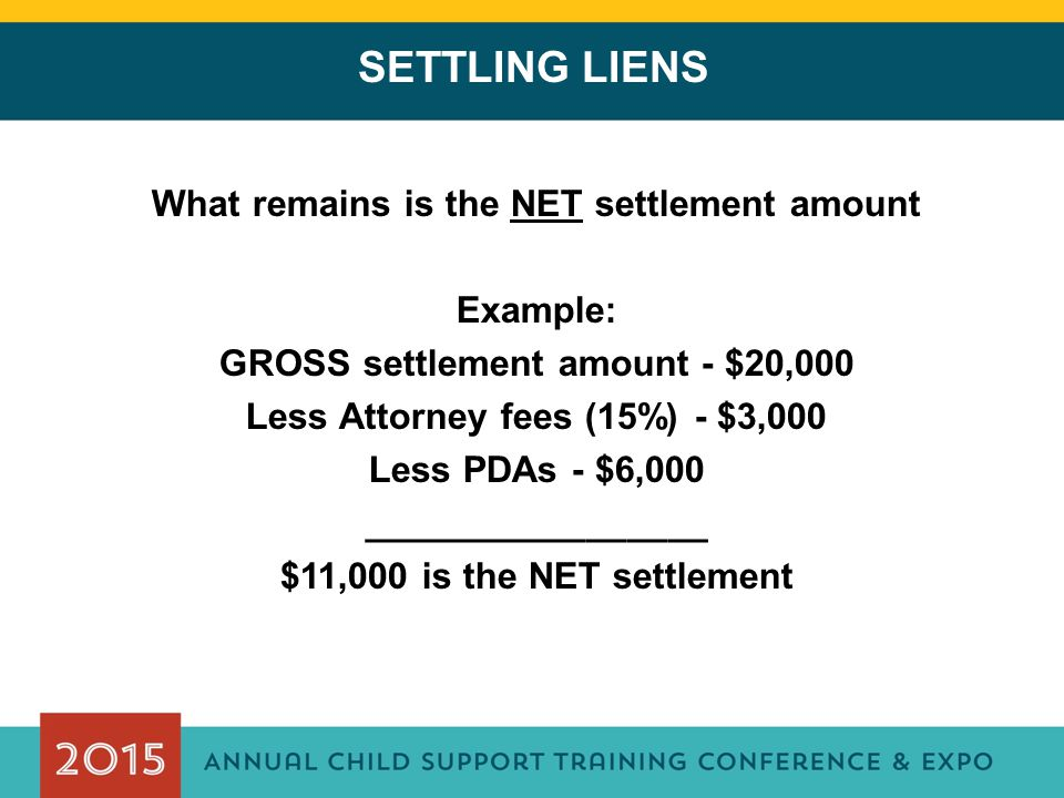 SETTLING LIENS What remains is the NET settlement amount Example: GROSS settlement amount - $20,000 Less Attorney fees (15%) - $3,000 Less PDAs - $6,000 _________________ $11,000 is the NET settlement