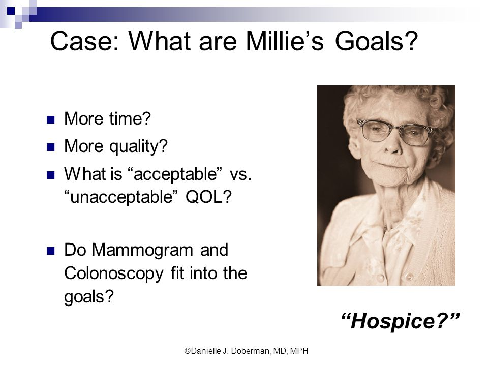 Case: What are Millie's Goals. More time. More quality.