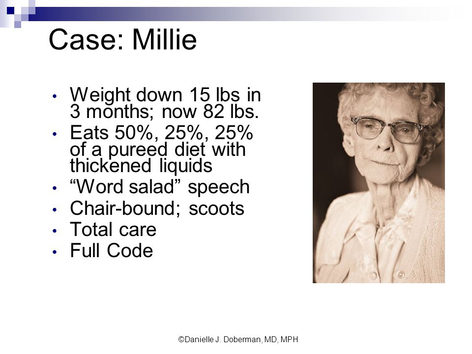 Case: Millie Weight down 15 lbs in 3 months; now 82 lbs.