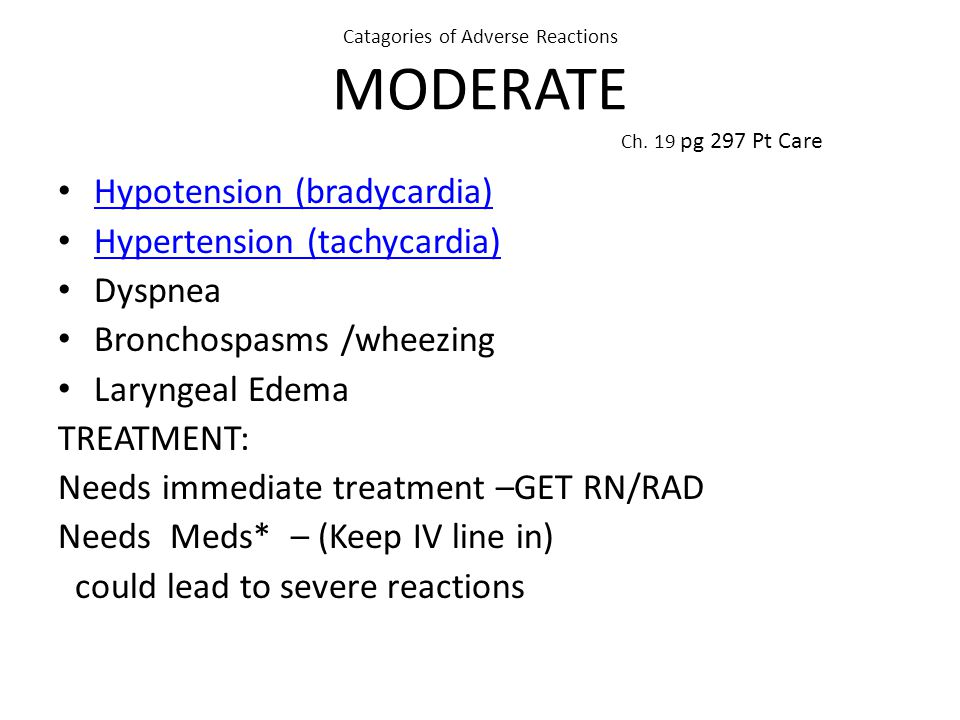 Catagories of Adverse Reactions MODERATE Ch.