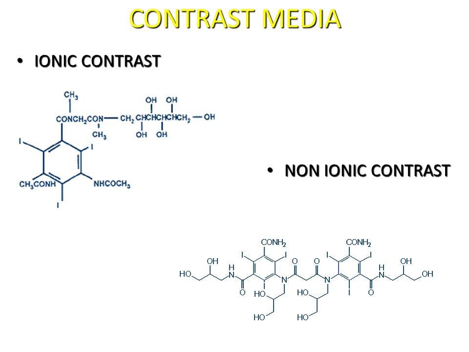 CONTRAST MEDIA IONIC CONTRAST IONIC CONTRAST NON IONIC CONTRAST NON IONIC CONTRAST