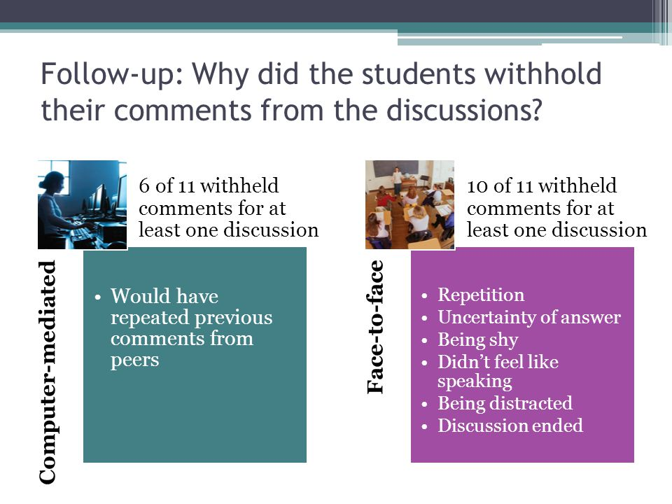 Follow-up: Why did the students withhold their comments from the discussions? Computer-mediated Would have repeated previous comments from peers Face-
