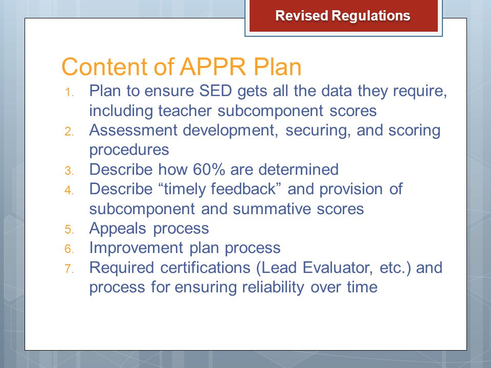 Content of APPR Plan 1.