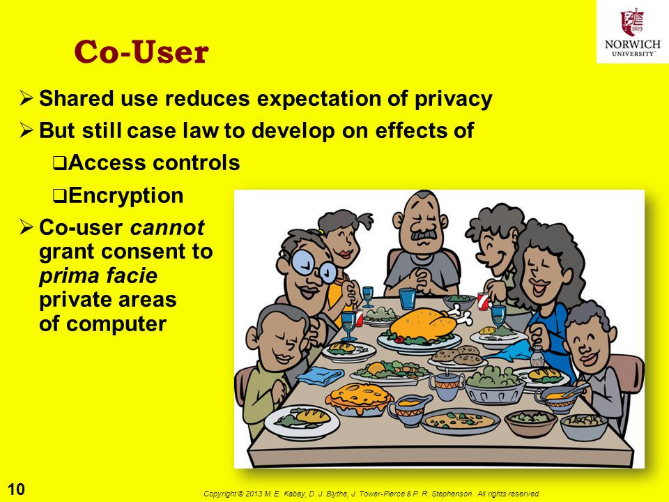 10 Copyright © 2013 M. E. Kabay, D. J. Blythe, J. Tower-Pierce & P. R. Stephenson. All rights reserved. Co-User  Shared use reduces expectation of pr