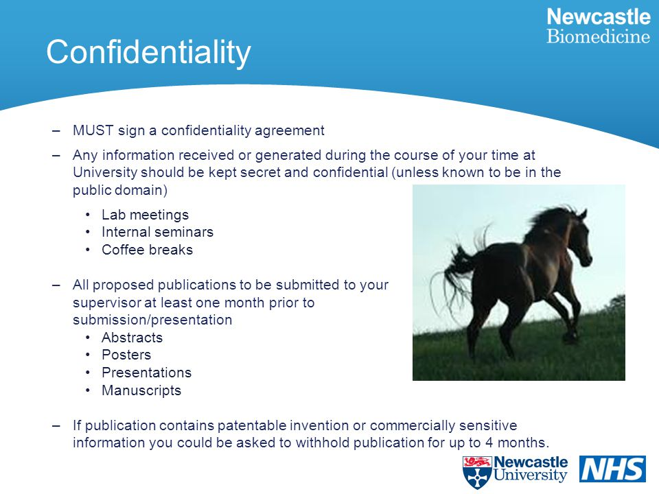 Confidentiality –MUST sign a confidentiality agreement –Any information received or generated during the course of your time at University should be kept secret and confidential (unless known to be in the public domain) Lab meetings Internal seminars Coffee breaks –All proposed publications to be submitted to your supervisor at least one month prior to submission/presentation Abstracts Posters Presentations Manuscripts –If publication contains patentable invention or commercially sensitive information you could be asked to withhold publication for up to 4 months.