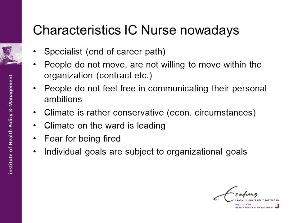 Characteristics IC Nurse nowadays Specialist (end of career path) People do not move, are not willing to move within the organization (contract etc.) People do not feel free in communicating their personal ambitions Climate is rather conservative (econ.