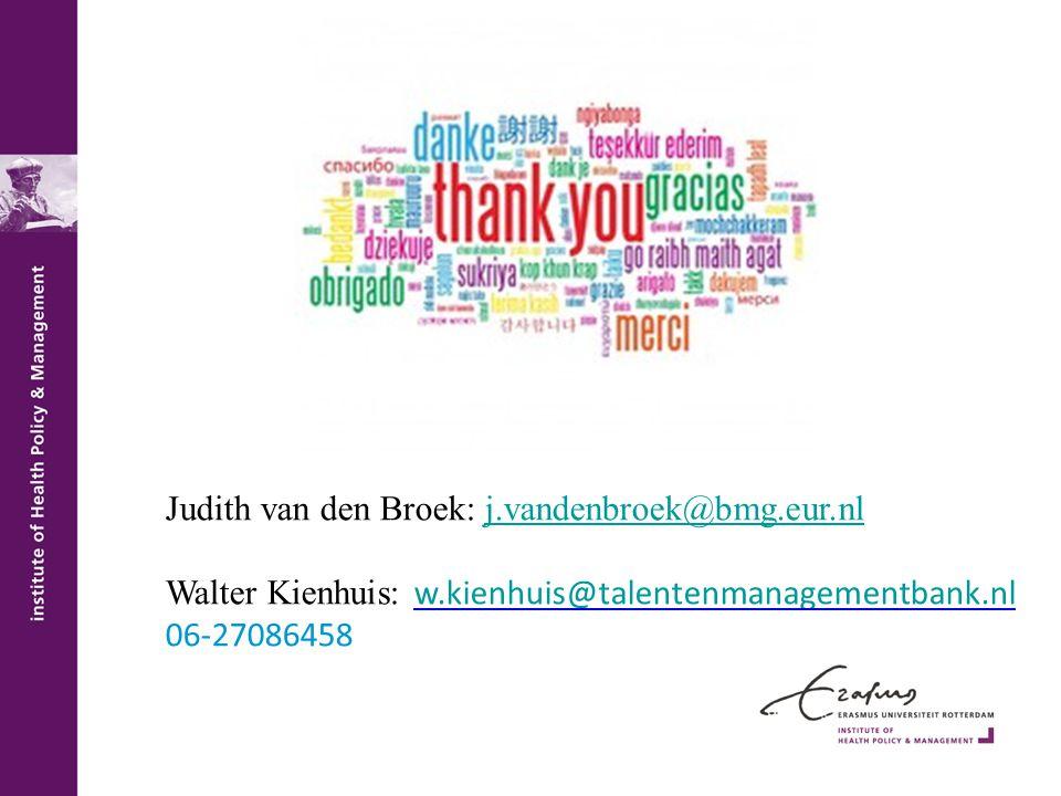 Judith van den Broek: j.vandenbroek@bmg.eur.nlj.vandenbroek@bmg.eur.nl Walter Kienhuis: w.kienhuis@talentenmanagementbank.nl w.kienhuis@talentenmanagementbank.nl 06-27086458