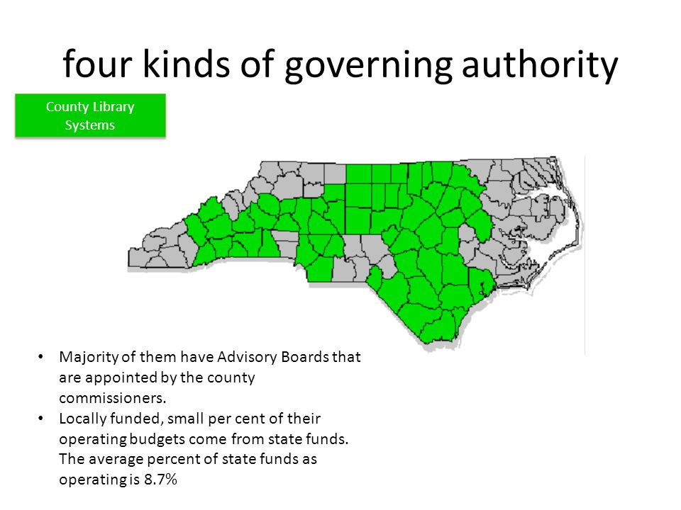 four kinds of governing authority Majority of them have Advisory Boards that are appointed by the county commissioners.