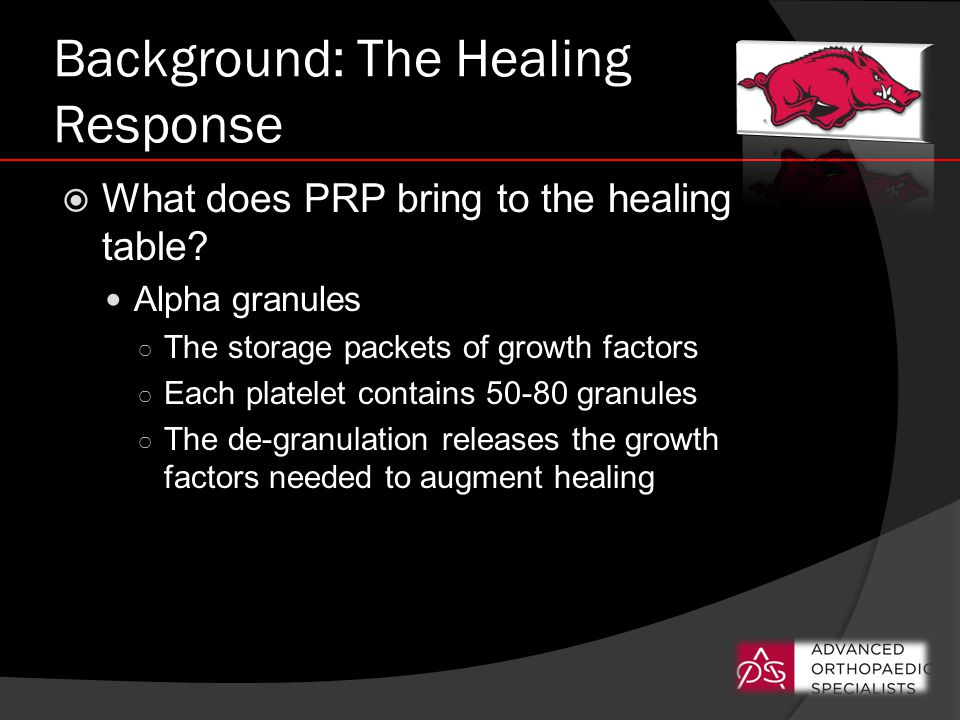 Background: The Healing Response  What does PRP bring to the healing table.