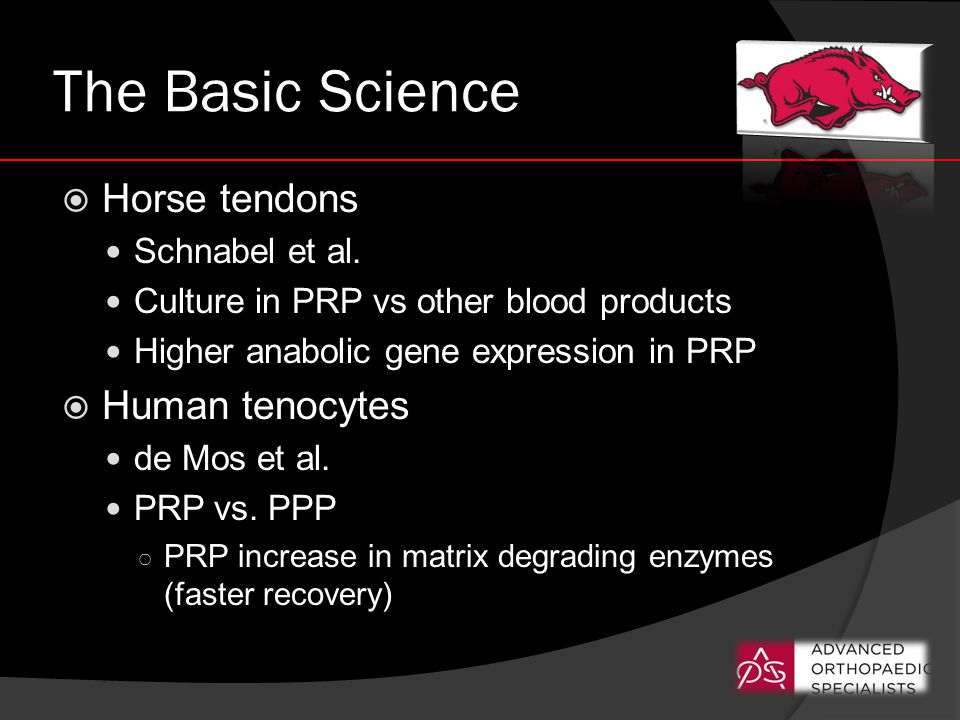 The Basic Science  Horse tendons Schnabel et al. Culture in PRP vs other blood products Higher anabolic gene expression in PRP  Human tenocytes de M