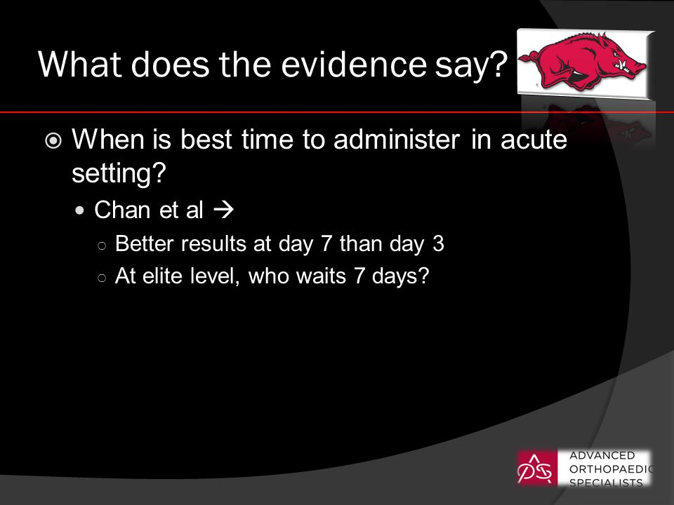 What does the evidence say.  When is best time to administer in acute setting.