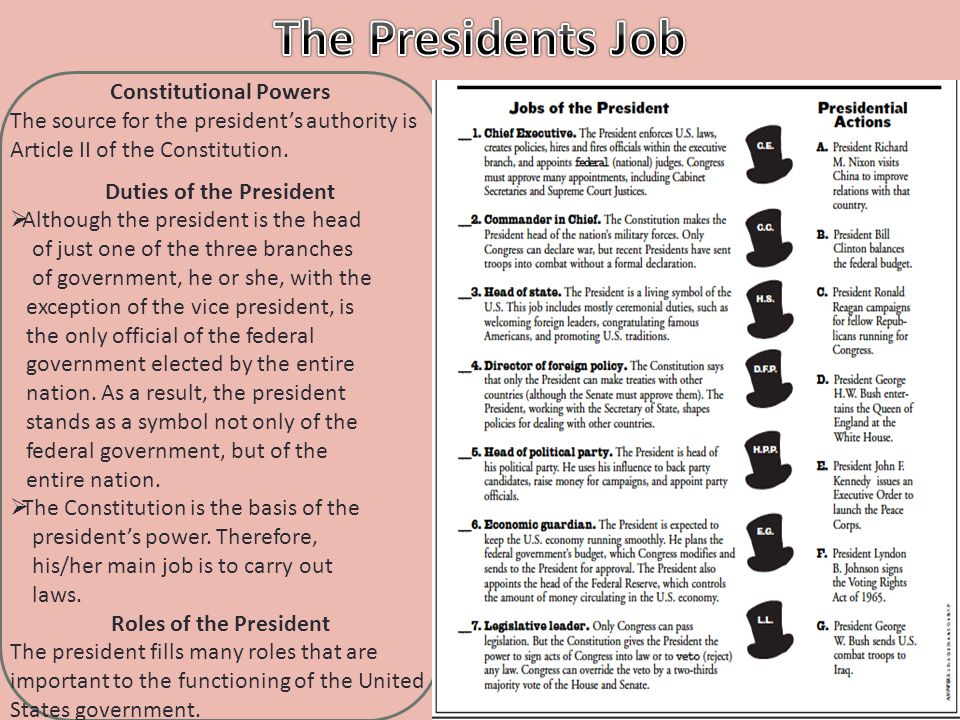 Constitutional Powers The source for the president's authority is Article II of the Constitution. Duties of the President  Although the president is