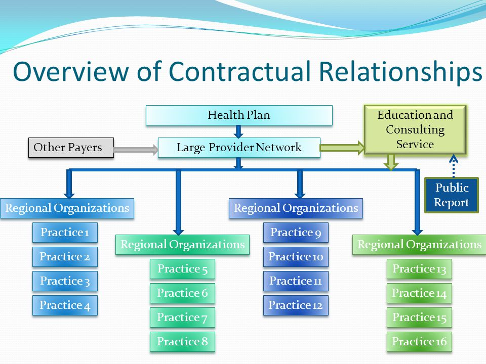 Overview of Contractual Relationships Health Plan Large Provider Network Regional Organizations Practice 3 Practice 4 Practice 2 Practice 1 Practice 5 Practice 8 Practice 6 Practice 7 Practice 11 Practice 12 Practice 10 Practice 9 Practice 14 Practice 13 Practice 15 Practice 16 Education and Consulting Service Other Payers Public Report