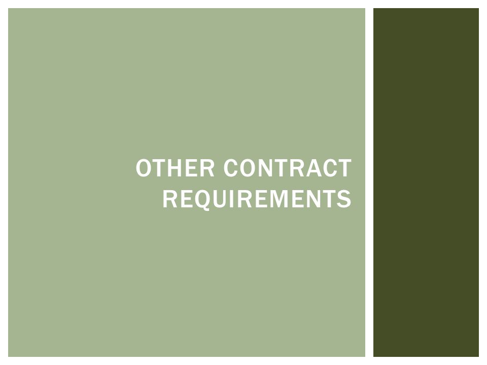 OTHER CONTRACT REQUIREMENTS