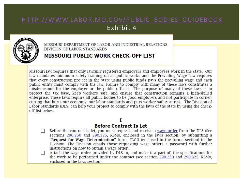 HTTP://WWW.LABOR.MO.GOV/PUBLIC_BODIES_GUIDEBOOK HTTP://WWW.LABOR.MO.GOV/PUBLIC_BODIES_GUIDEBOOK Exhibit 4