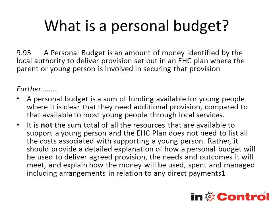 What is a personal budget.