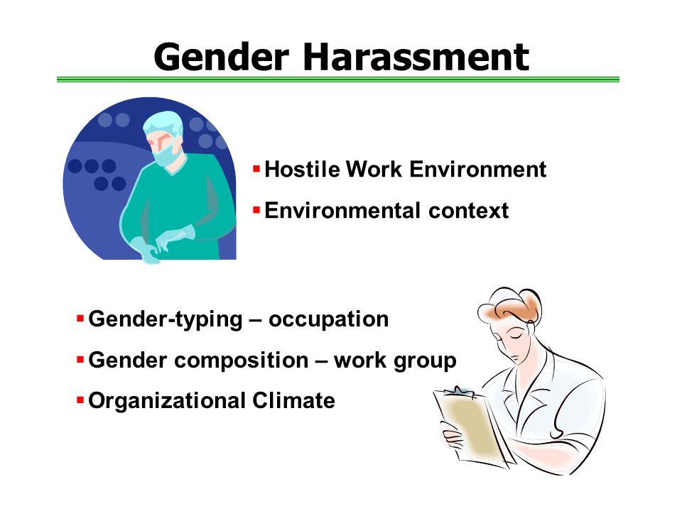 Gender Harassment  Hostile Work Environment  Environmental context  Gender-typing – occupation  Gender composition – work group  Organizational Climate