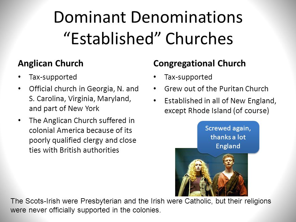 """Dominant Denominations """"Established"""" Churches Anglican Church Tax-supported Official church in Georgia, N. and S. Carolina, Virginia, Maryland, and pa"""